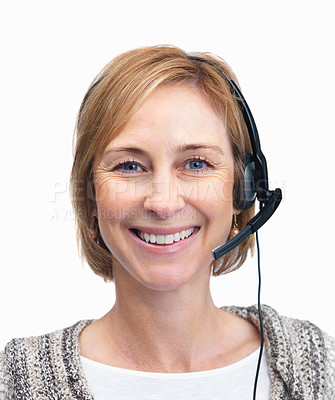 Buy stock photo Beautiful middle aged woman wearing a headset isol