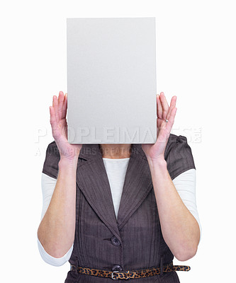 Buy stock photo Woman hiding her face behind blank sheet over whit