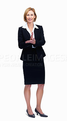 Buy stock photo Portrait of business woman in suit giving a speech