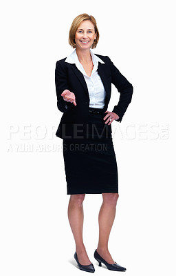 Buy stock photo Portrait of cheerful woman standing isolated over