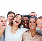 Group of mixed students celebrating completion of high school