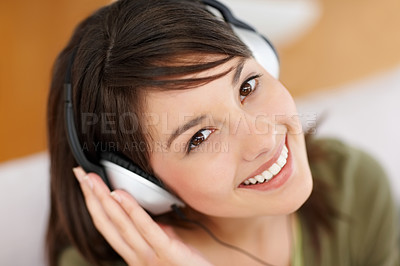 Buy stock photo Portrait of a pretty teenager hearing  music on he