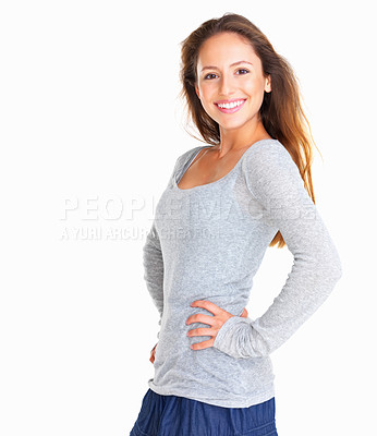 Buy stock photo Pretty woman posing against white background