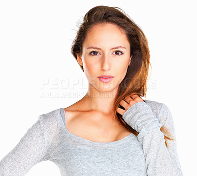 Buy stock photo Head shot of woman looking sensual against white background
