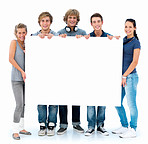 Portrait of young teenagers holding copyspace