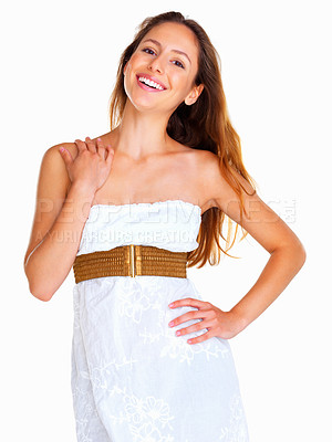 Buy stock photo Woman with hand on shoulder against white background