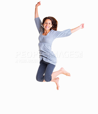 Buy stock photo Full-fame of woman jumping in air