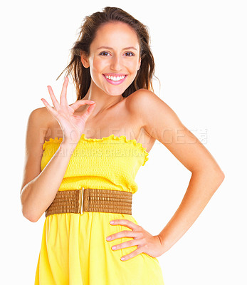 Buy stock photo Woman smiling and making gesture