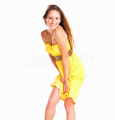 Buy stock photo Woman against white background with hands on thighs