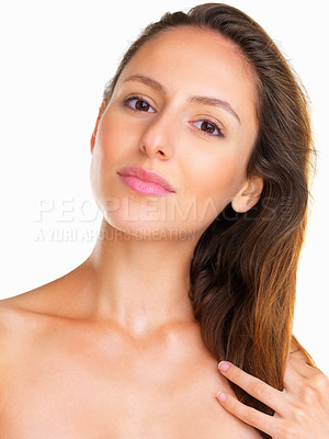 Buy stock photo Head shot of sensual woman looking into camera