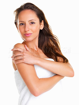 Buy stock photo Woman posing with arms crossed