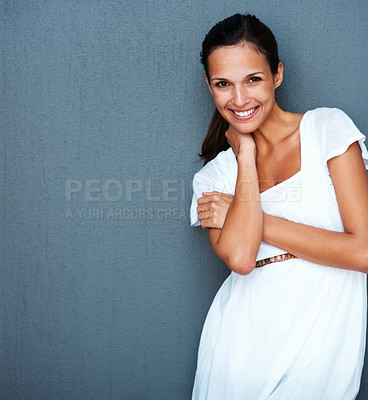Buy stock photo Shy beautiful woman standing