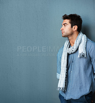 Buy stock photo Pensive man leaning against wall