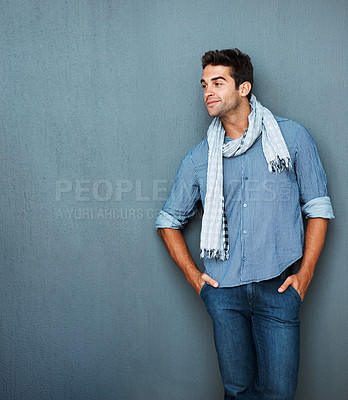Buy stock photo Handsome man deep in thought