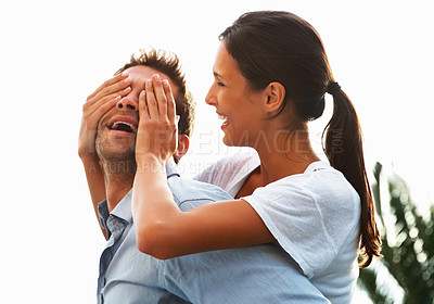 Buy stock photo Pretty woman covering mans eyes