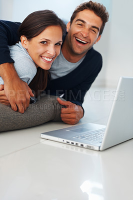 Buy stock photo Handsome man and woman indoors with laptop