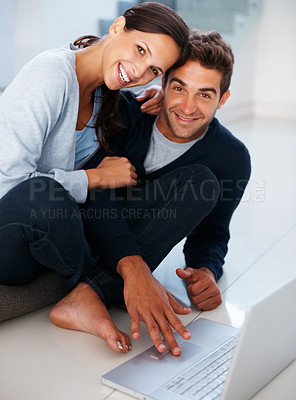 Buy stock photo Handsome man and woman with laptop on floor