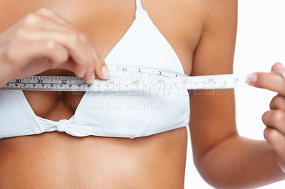 Buy stock photo Woman measuring her chest