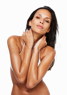 Buy stock photo Sensual woman with hands on neck