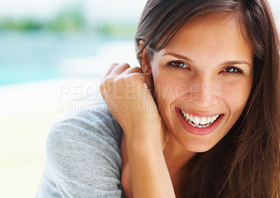 Buy stock photo Pretty woman smiling with hands near neck