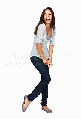 Buy stock photo Full-frame sexy woman casually dancing with arms down
