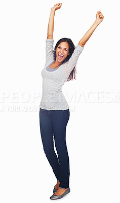 Buy stock photo Full-frame sexy woman throwing her arms up in the air rejoicing