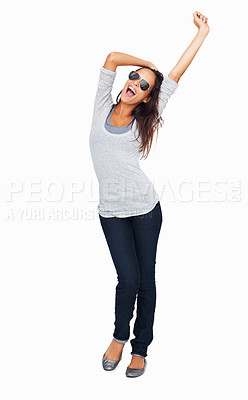Buy stock photo Full-frame sexy woman with one arm raised up in the air