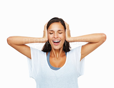Buy stock photo Woman covering ears against white background