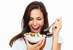 Woman getting ready to eat her salad