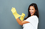 Woman wearing cleaning gloves