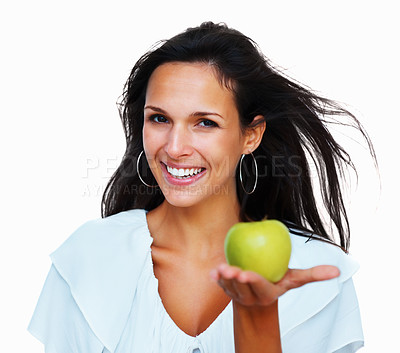 Buy stock photo Head shot of woman holding apple in palm of hand