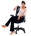 Smiling woman sitting in a chair