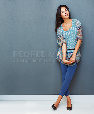 Buy stock photo Sexy woman standing with legs crossed