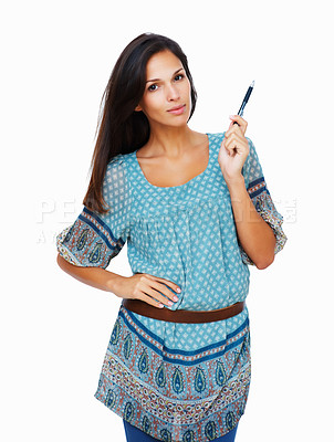Buy stock photo Uncertain woman holding pen in hand against white background