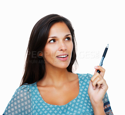 Buy stock photo Head shot of woman holding pen while looking up
