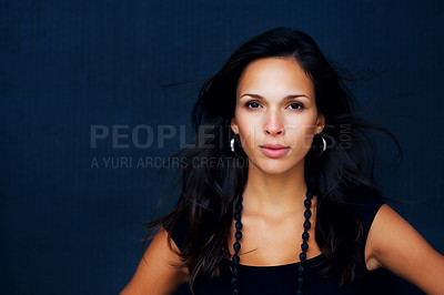 Buy stock photo Head shot of woman with sultry look