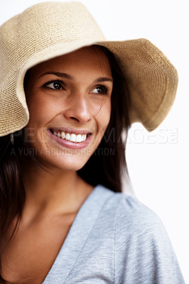 Buy stock photo Portrait of a happy young woman wearing hat and looking away