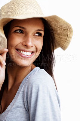 Buy stock photo Portrait of a charming young female looking away in thought