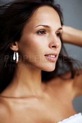 Buy stock photo Closeup portrait of a beautiful young female in thoughtful mood