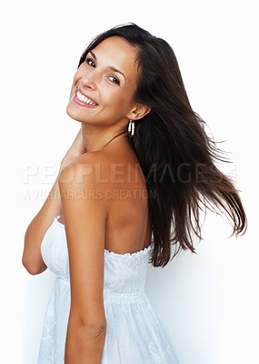 Buy stock photo Pretty woman looking over her shoulder against white background
