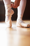 Female ballet dancer putting on performance shoes