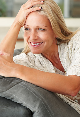 Buy stock photo Closeup portrait of a smiling pretty lady looking away