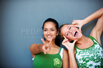 Buy stock photo Portrait of two female friends in playful mood against grey background