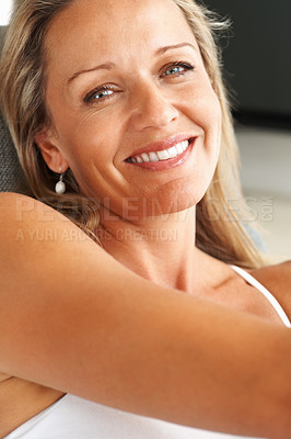 Buy stock photo Closeup of a beautiful happy mid adult woman smiling