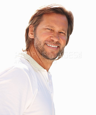 Buy stock photo Closeup portrait of a smart casual man smiling isolated against white background