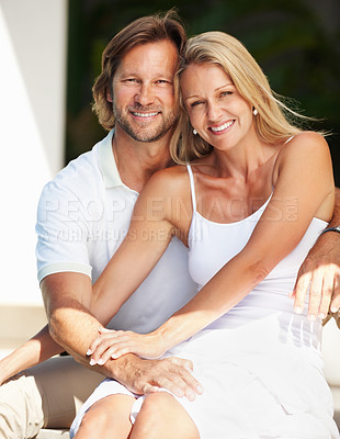 Buy stock photo Portrait of a cute happy mature man and woman smiling