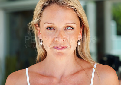 Buy stock photo Closeup portrait of a beautiful mid adult woman