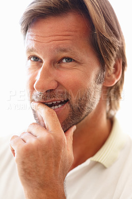 Buy stock photo Closeup portrait of a mature man thinking about something against white background