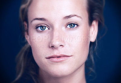 Buy stock photo Closeup portrait of cute woman girl face against black blackground