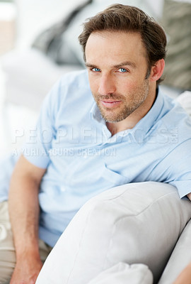 Buy stock photo Portrait of a relaxed young man relaxing on sofa  - Indoor